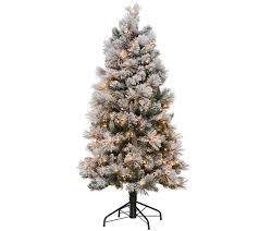 Bethlehem Lights Christmas Trees Qvc by Kringle Express Flocked 5 U0027 Winter Slim Christmas Tree Page 1