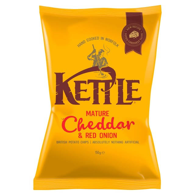 Kettle Mature Cheddar and Red Onion British Potato Chips - 150g