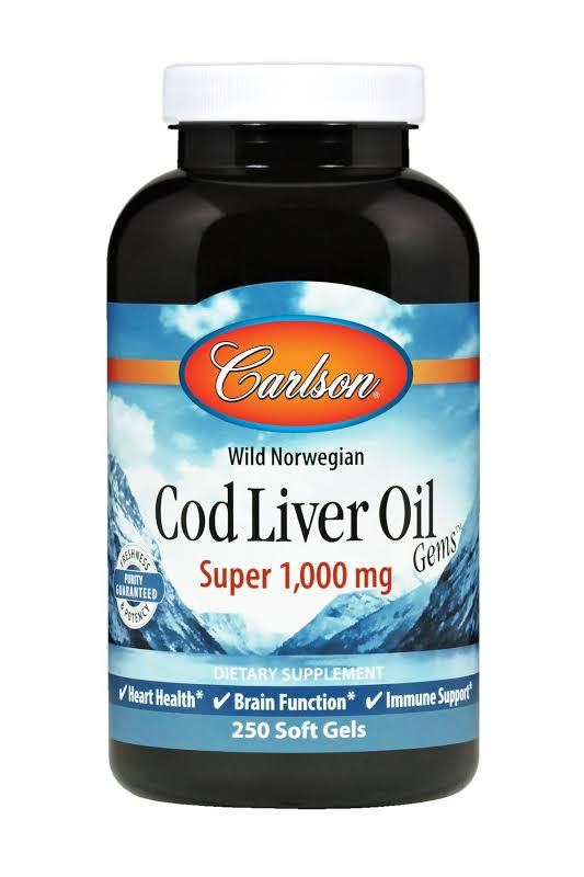Carlson Labs Norwegian Cod Liver Oil Super 1000 mg. 250 Softgels