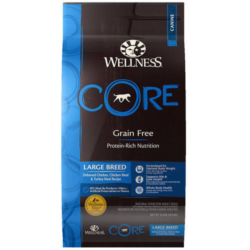 Wellness Core Natural Dry Grain Free Large Breed Dog Food - Chicken and Turkey, 26lb