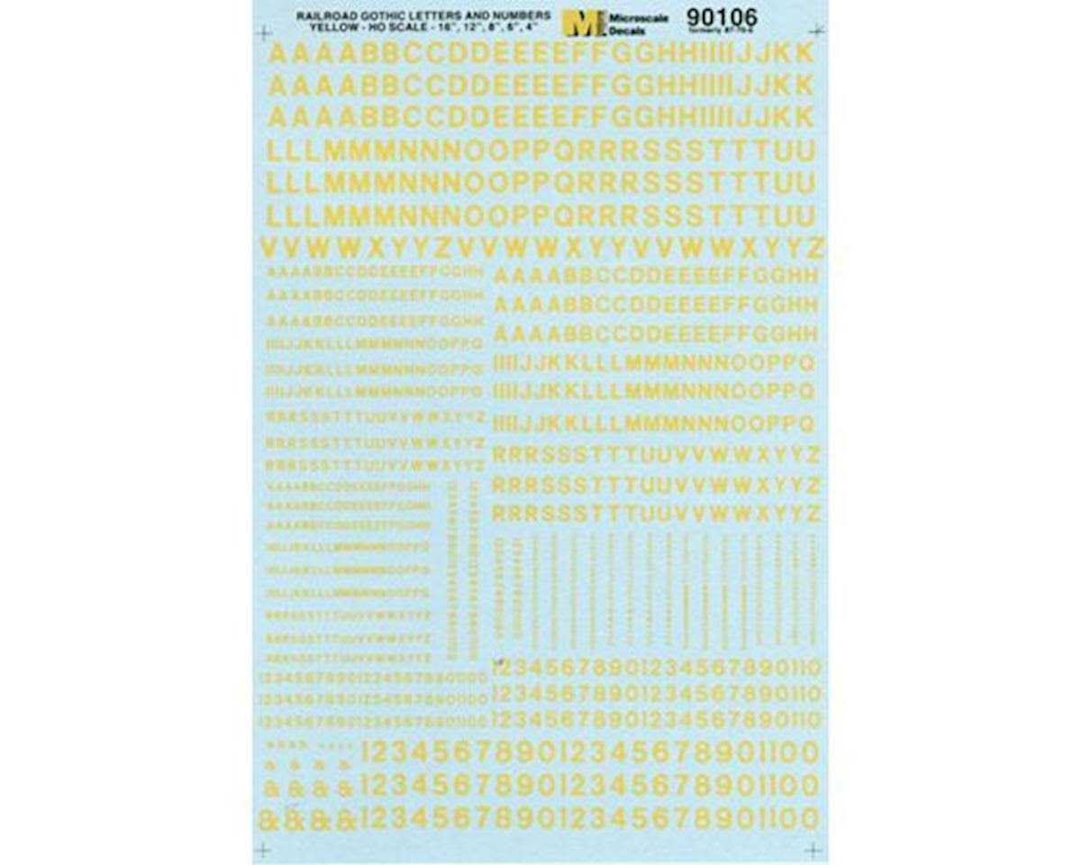 Microscale MSI90106 HO Letters & Numbers, Gothic/Yellow