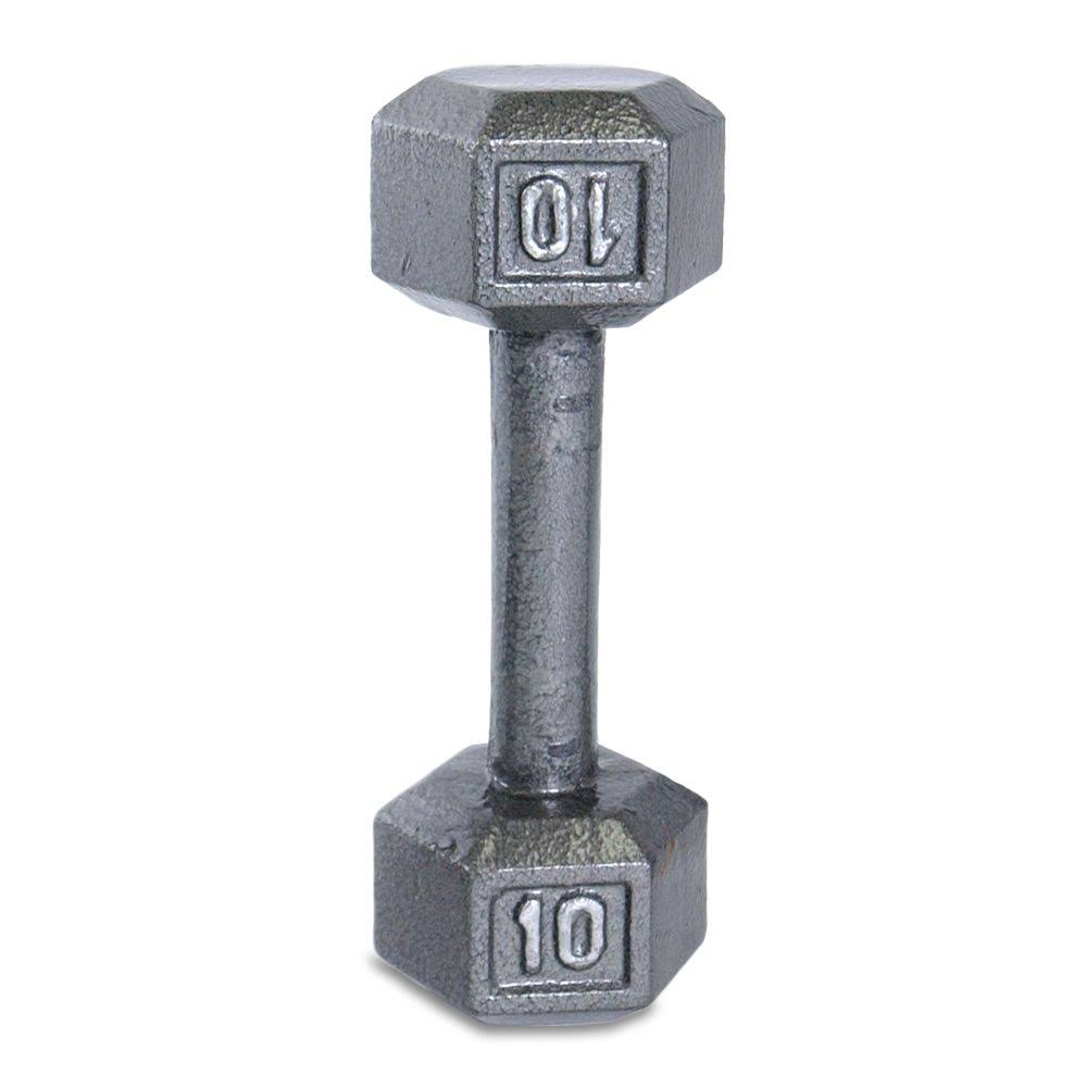 Cap Barbell Cast Iron Hex Dumbbell - Grey, 10lbs