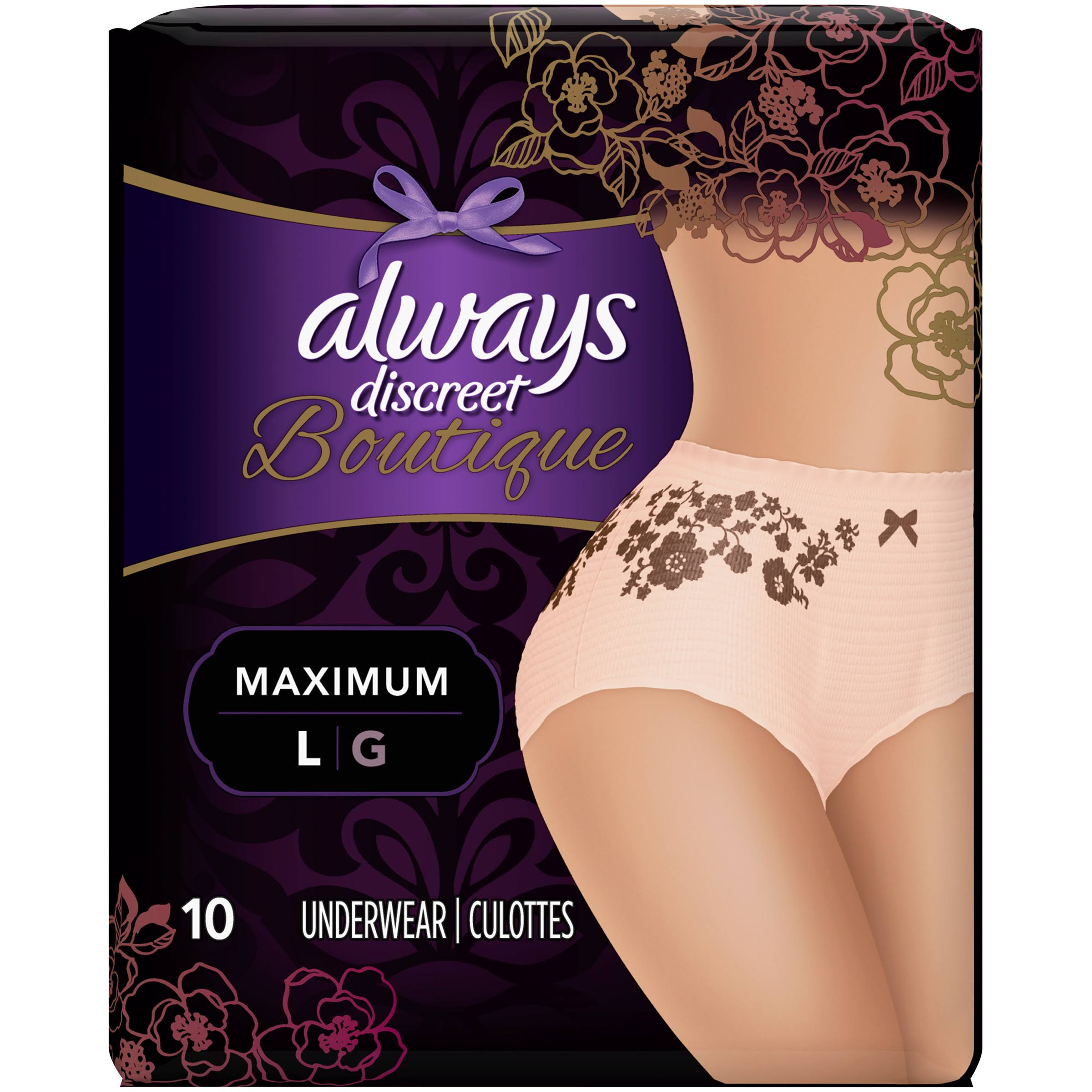 Always Discreet Boutique Maximum Protection Underwear - Large, x10