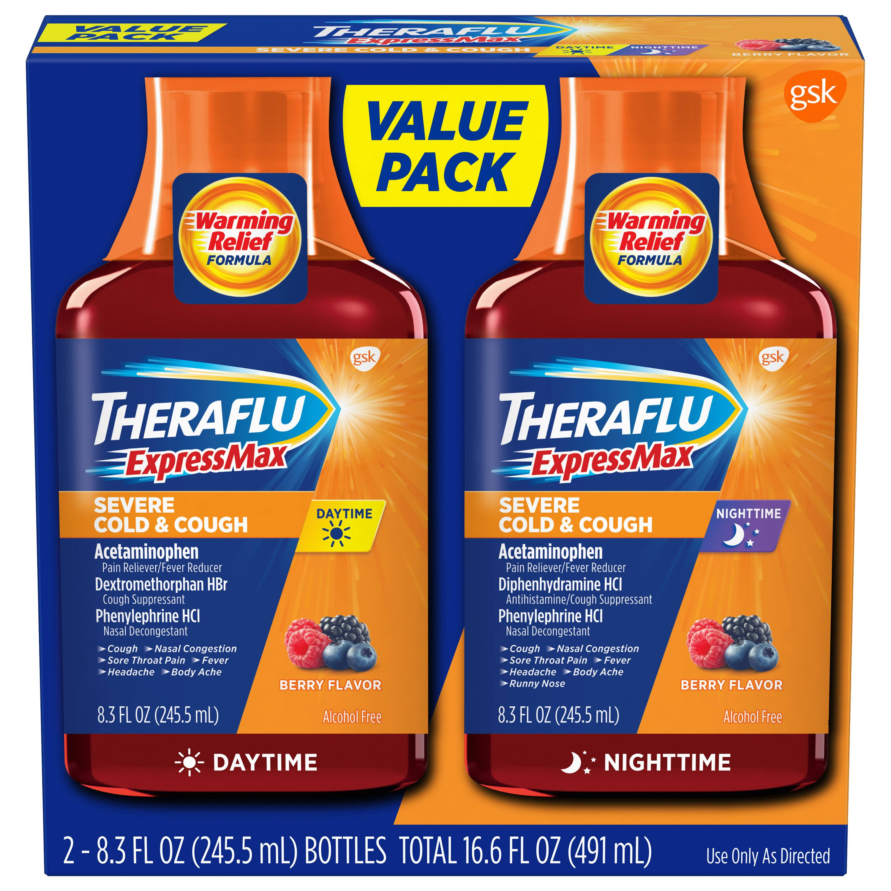 Theraflu Daytime Nighttime Severe Cold & Cough Liquid Relief Value Pack - Berry, 2 Bottles, 245.5ml