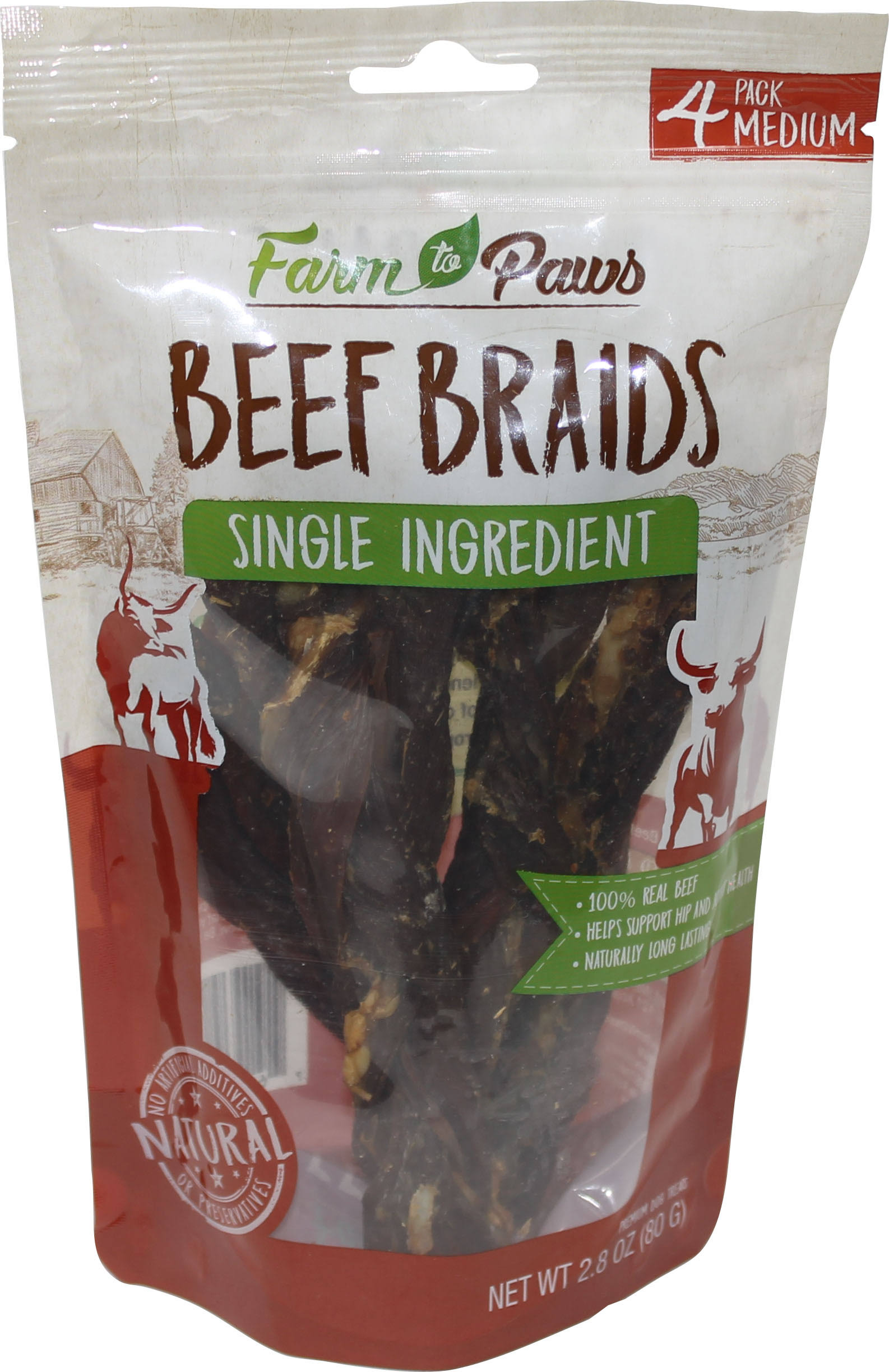 Farm To Paws Beef Braids - Medium, 4-Pack