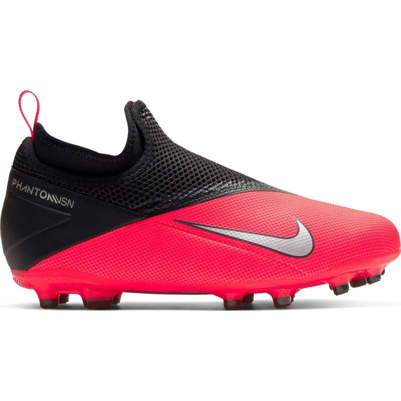 Nike Phantom Vision 2 Academy DF FG Kids' Soccer Cleat Laser Crimson/Metallic Silver-Black 5