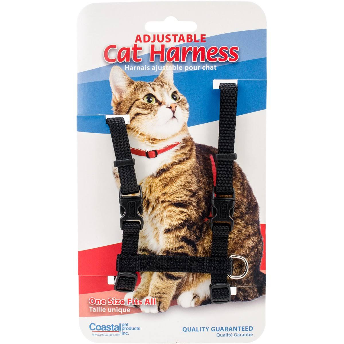 Coastal Pet Products Figure H Cat Harness - Black, Nylon, Adjustable