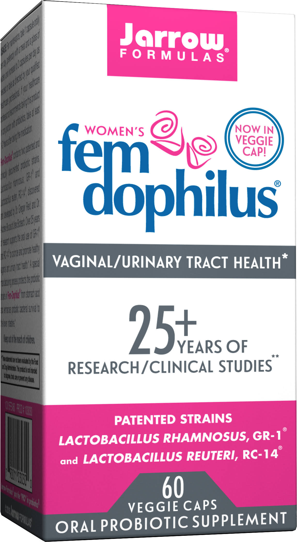 Jarrow Formulas Fem-Dophilus Oral Probiotic Supplement - 60 Capsules