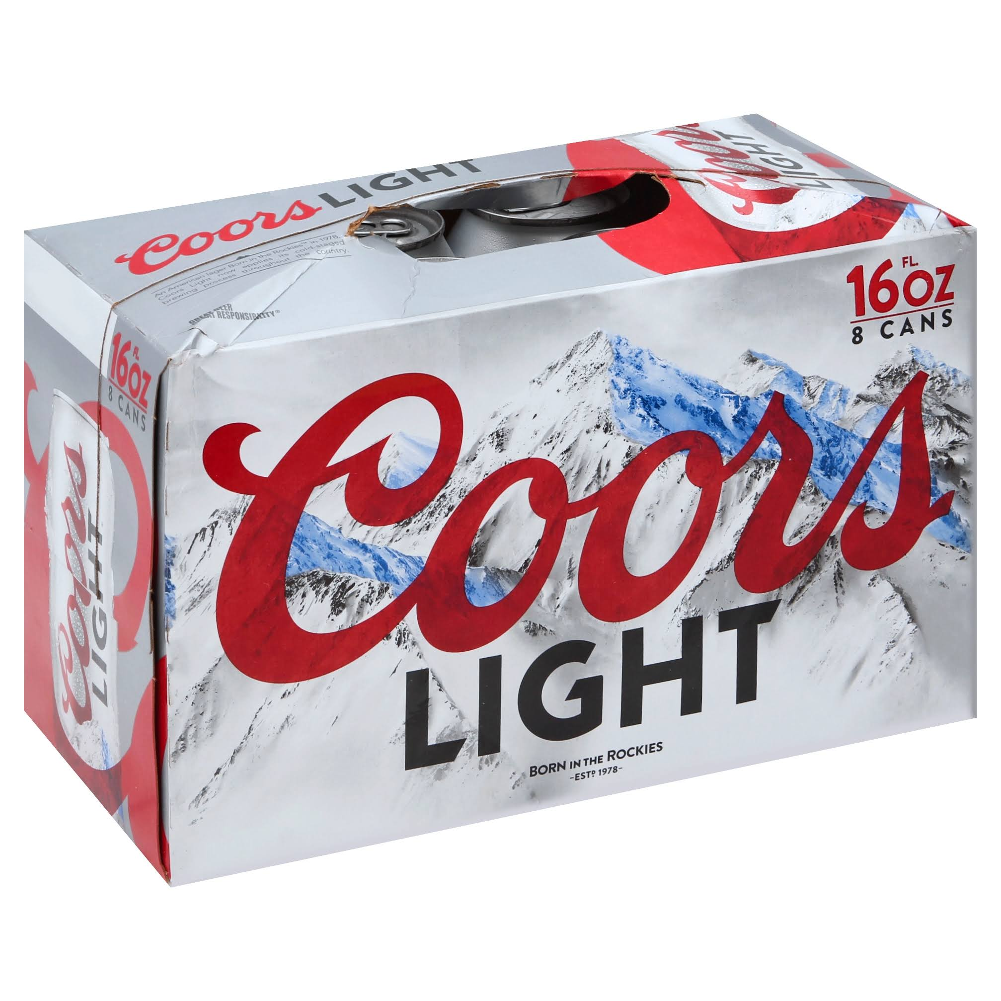 Coors Light Beer - 8 pack, 16 fl oz cans