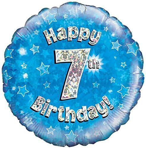 Oaktree Happy 7th Birthday Blue Foil Balloon
