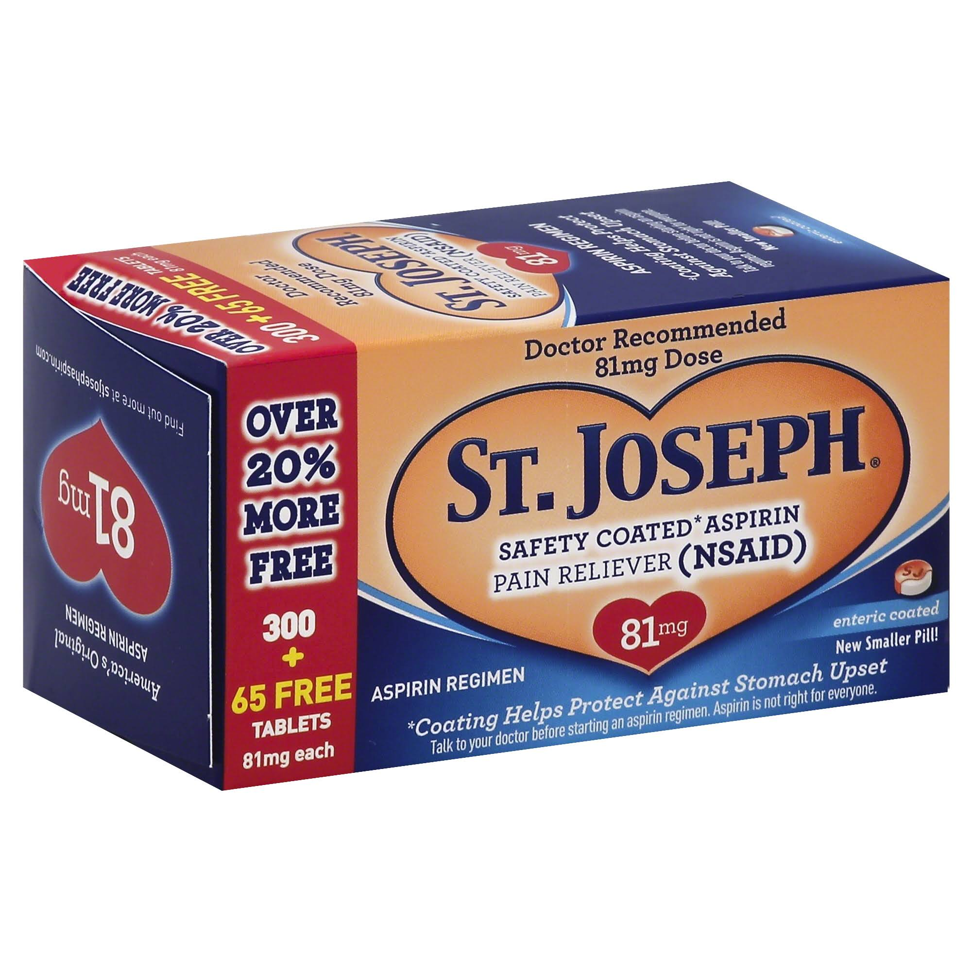 St. Joseph Safety Coated Aspirin Pain Reliever Tablets - 81mg, 365ct