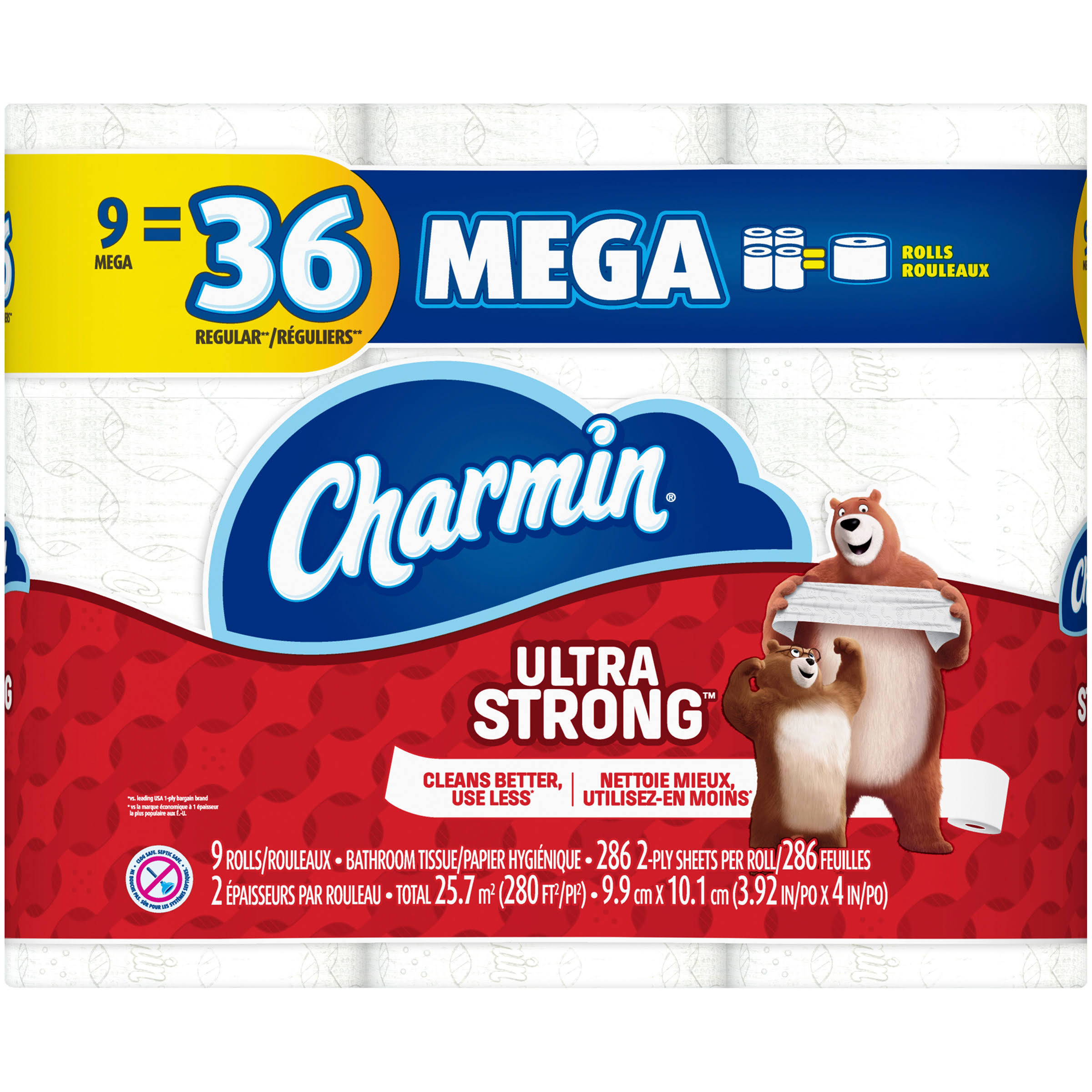 Charmin Ultra Strong Toilet Paper, Mega Rolls - 9 count