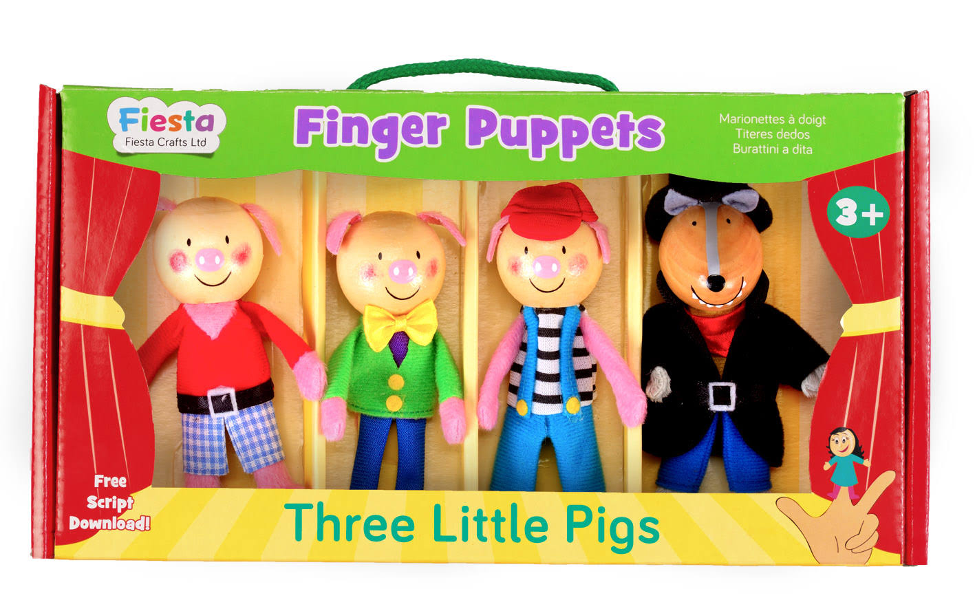 Babalu The 3 Little Pigs Story Time Finger Puppet Puppets Gift Set Kit - 4 Count