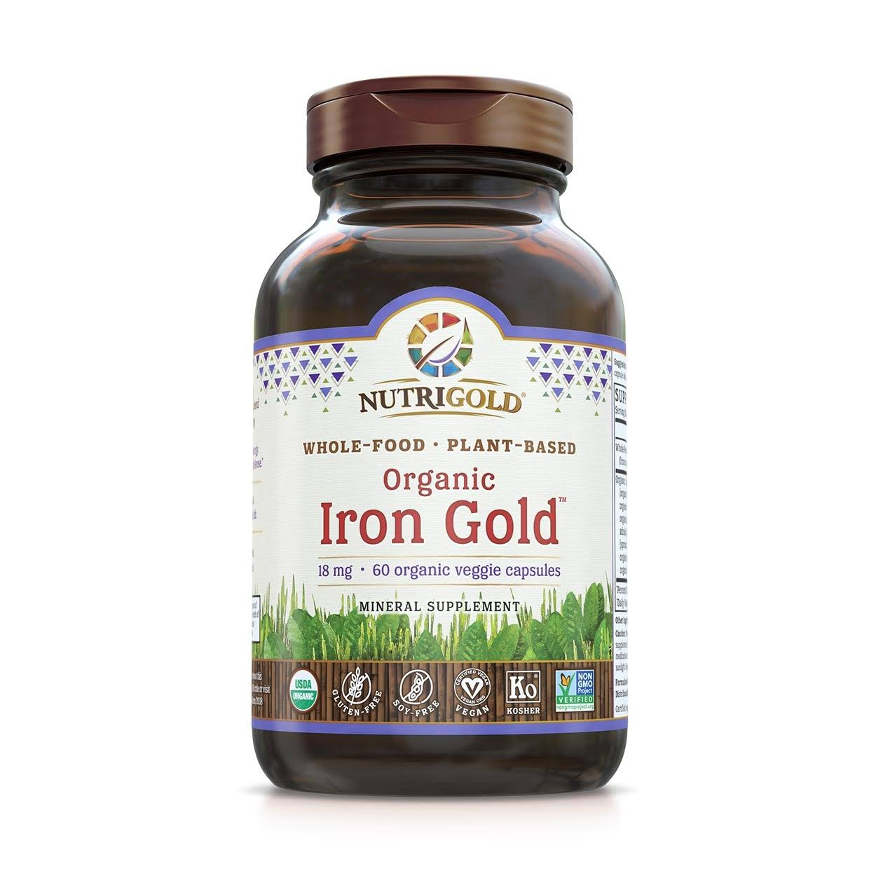 NutriGold Organic Iron Gold Mineral Supplement - 18mg, 60ct
