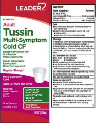 Leader Adult Tussin Multi Symptom Cold Nasal Decongestant - 4oz