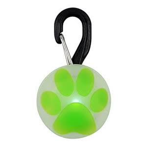 Nite Ize Petlit LED Dog Collar - White LED, Paw Green