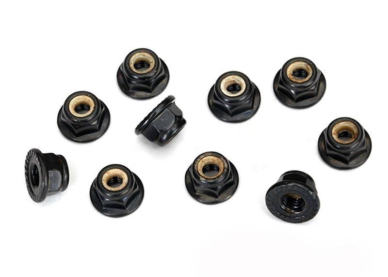 Traxxas RC Vehicle Flanged Nylon Locking Nuts - Serrated Black, 4mm