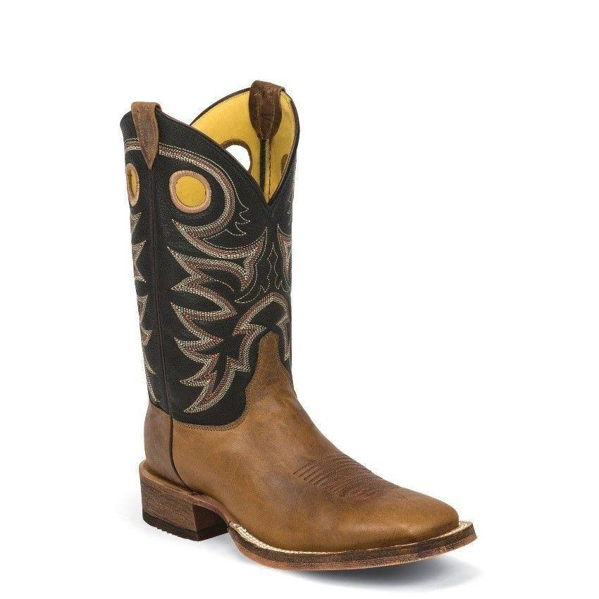 Justin Boots Mens Bent Rail Riding Boot - Tobacco Cowhide and Black Spiral, 10 US, 11""