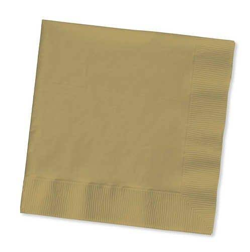 Touch of Color Beverage Napkins - 3-ply, Glittering Gold, 50ct