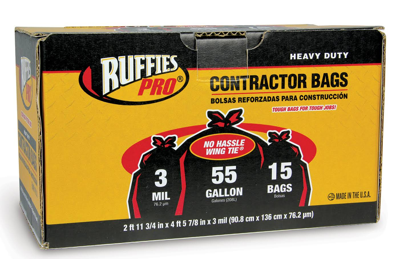 Ruffles Pro Contractor Bags - 208l, 15 Pack