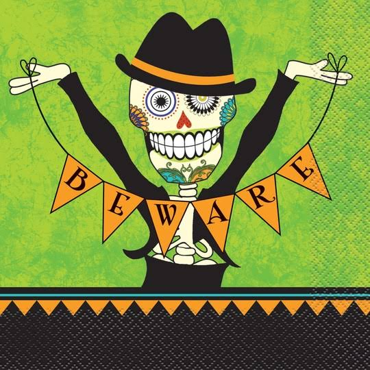 Unique Day of the Dead Halloween Party Napkins - 16ct
