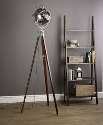 Photographers Tripod Floor Lamp by Decor Cool Tripod Lamp With Ladder Shelf And Wooden Floor For