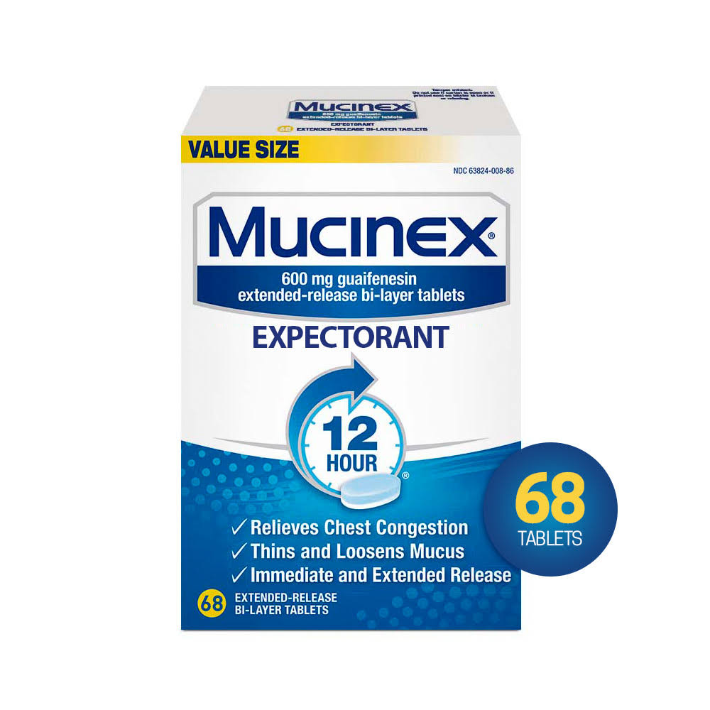 Mucinex SE 12 Hour Chest Congestion Expectorant Tablets - 600mg, 68ct