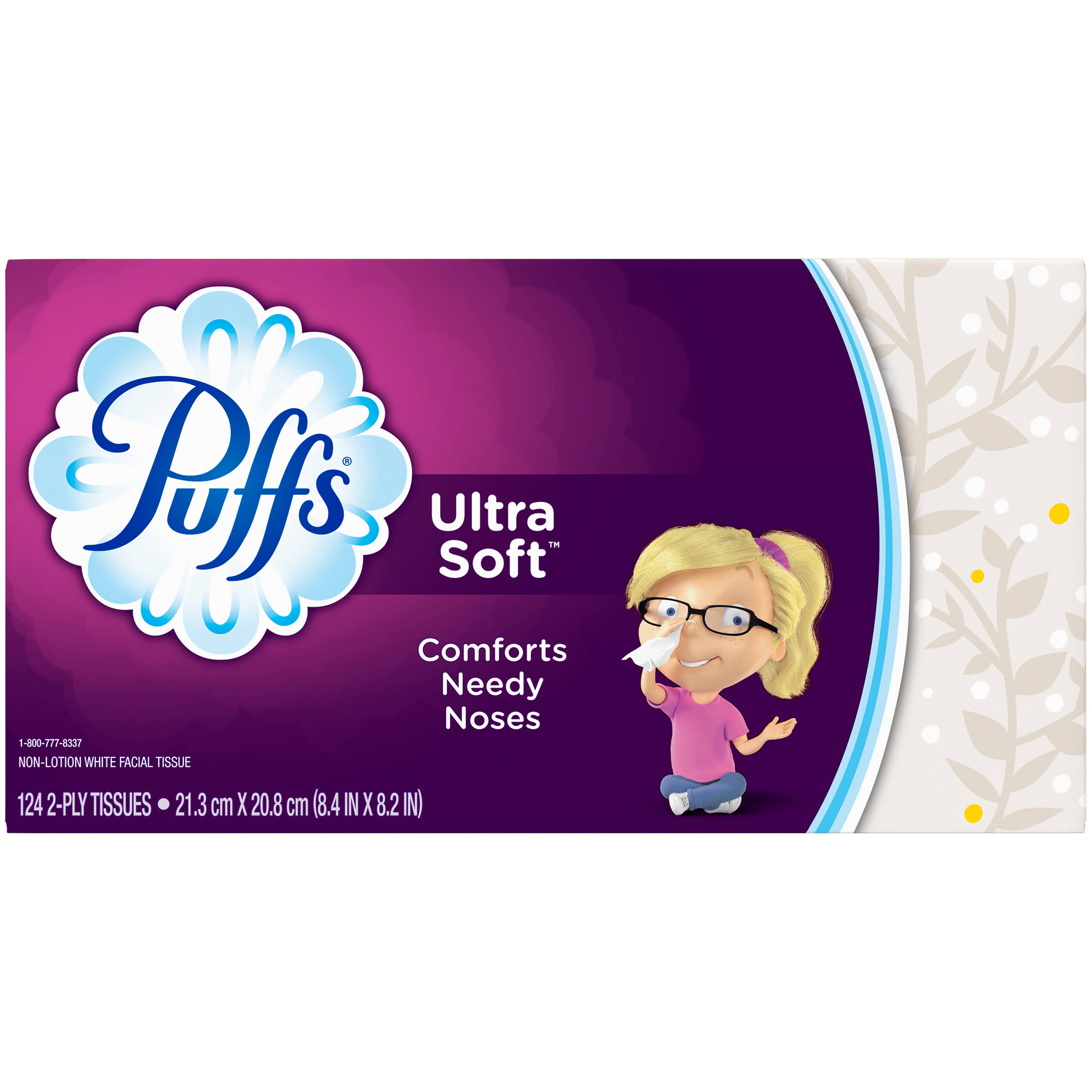 Puffs Facial Tissues - Ultra Soft and Strong, 124ct