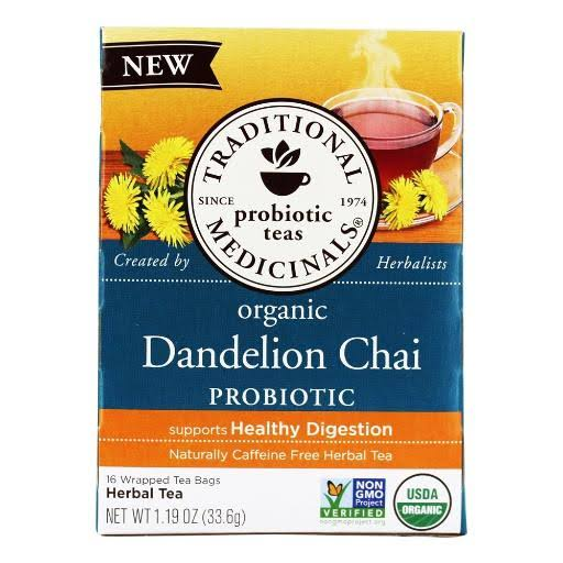 Traditional Medicinals Herbal Tea, Organic, Dandelion Chai - 16 wrapped tea bags, 1.19 oz