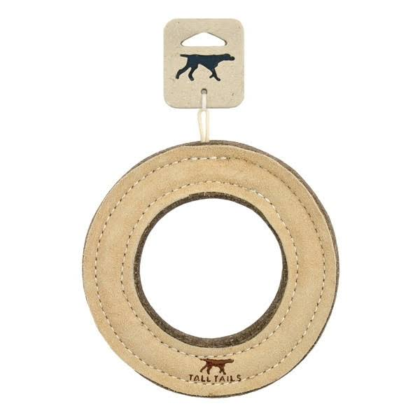 Tall Tails Natural Wool & Leather Ring Dog Toy, 7""