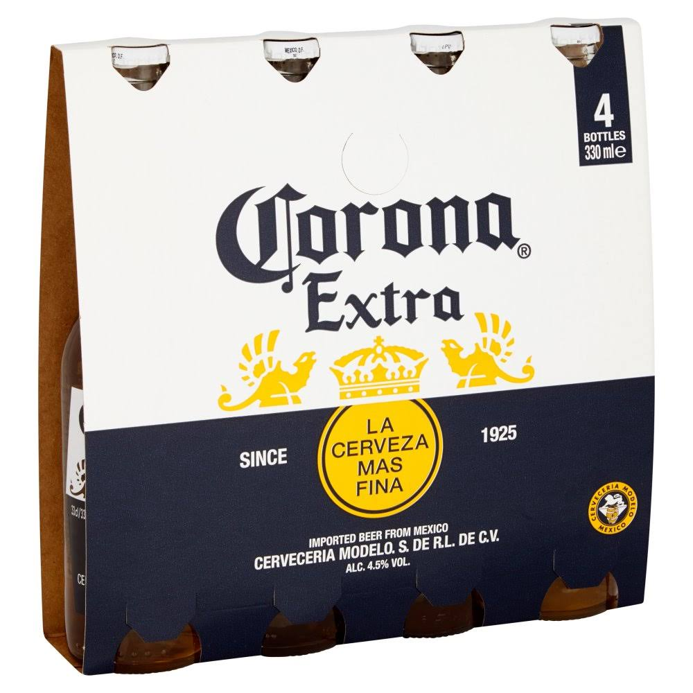 Corona Extra Lager Beer - 330ml, 4-Pack