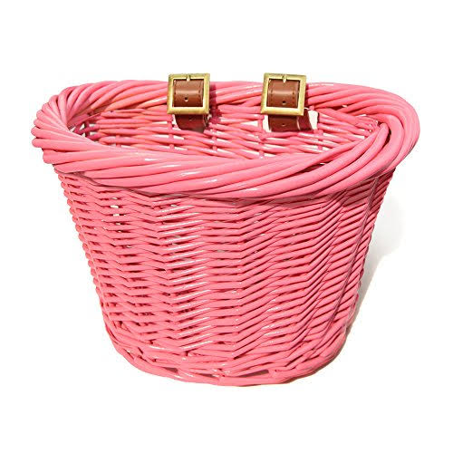 Colorbasket 01464 Junior Front Handlebar Wicker Bike Basket Pink