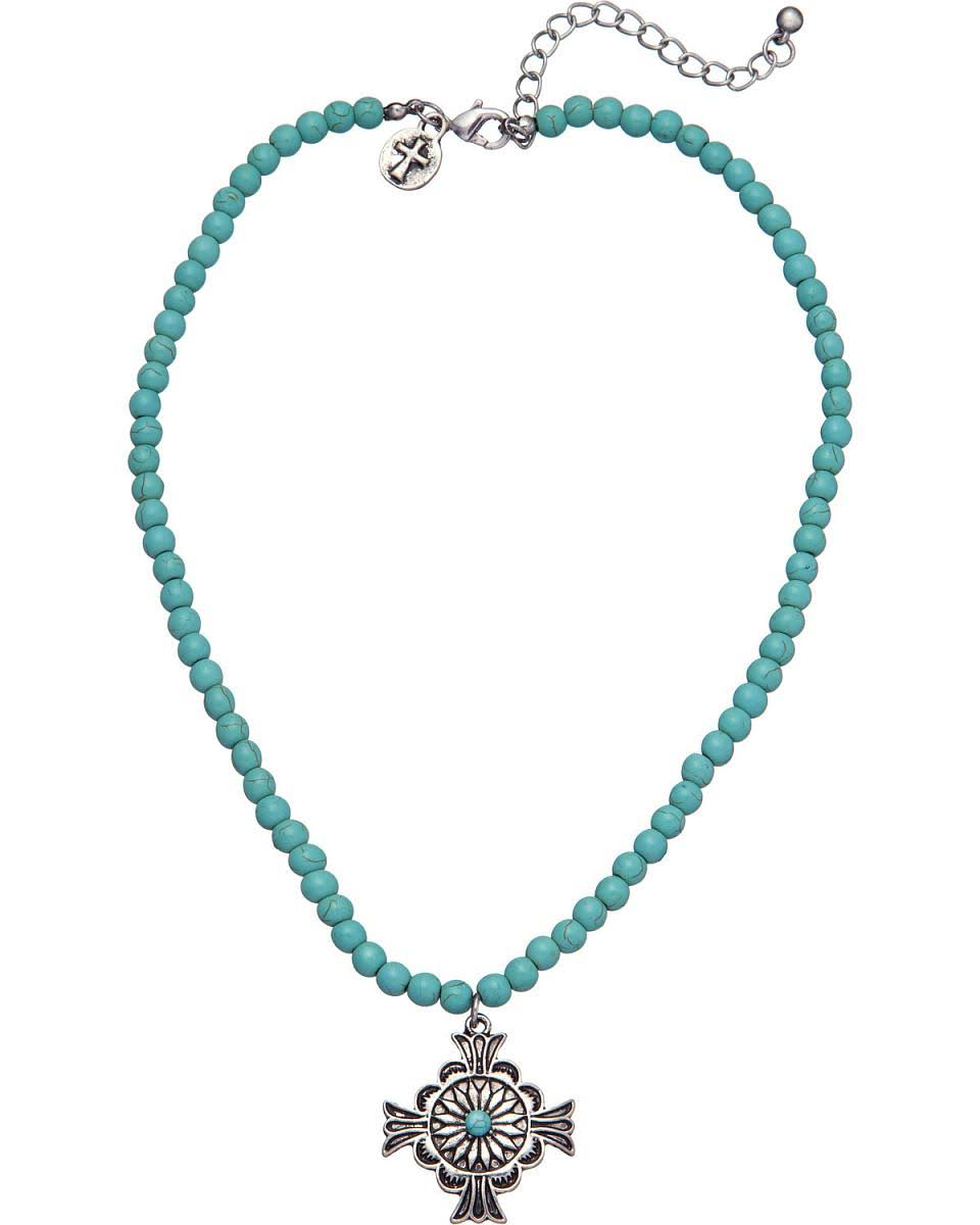 West & Co. Women's Turquoise Bead Cross Charm Necklace