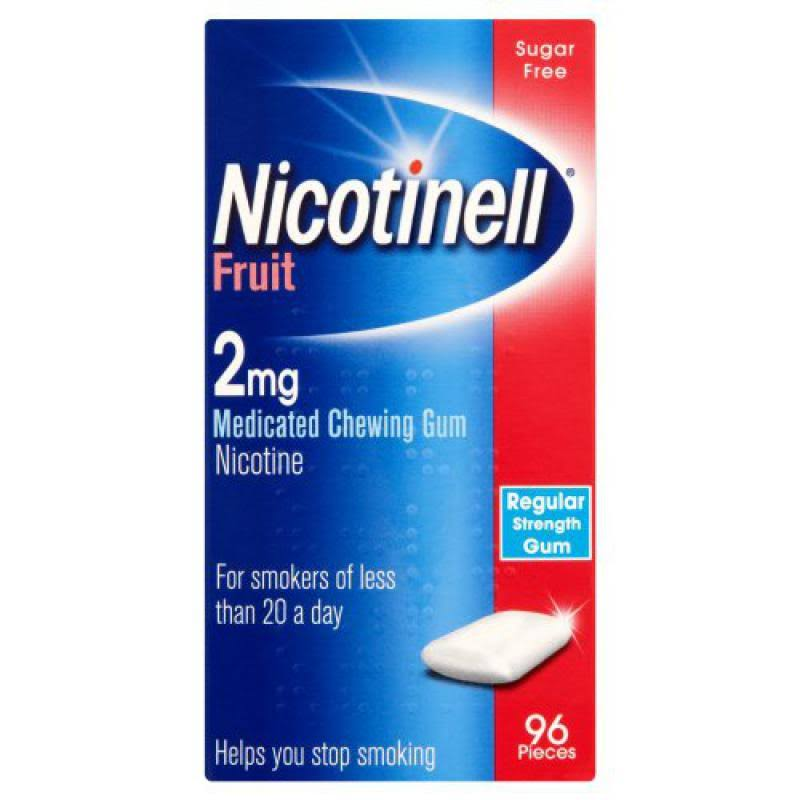 Nicotinell Medicated Chewing Gum - Fruit, Regular Strength, 96 Pieces