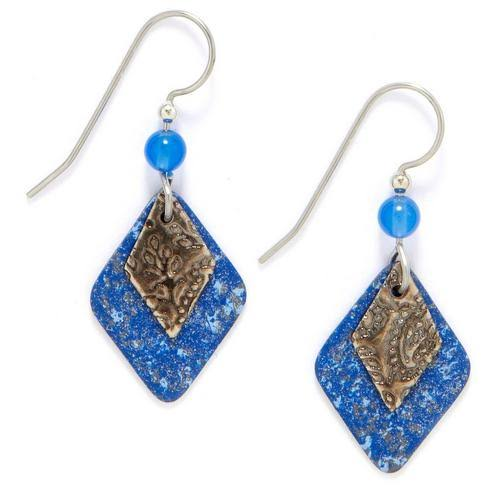 Silver Forest Layered Blue Diamond Bead Drop Earrings