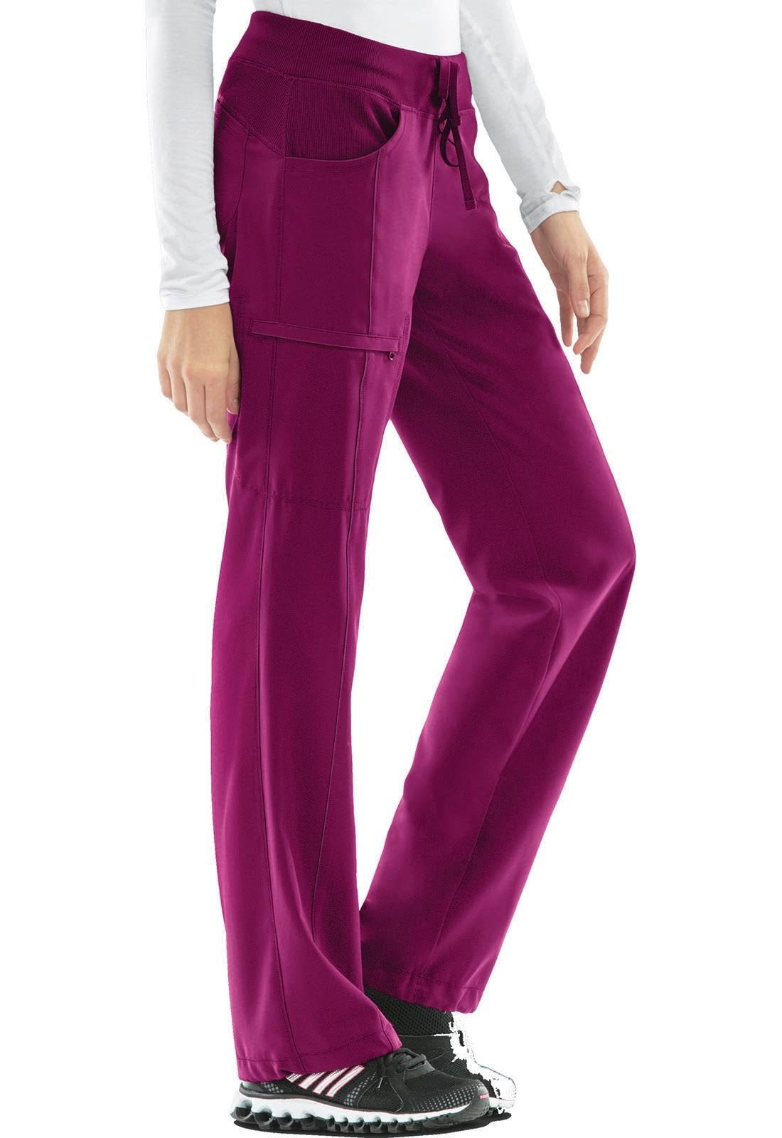 Cherokee Women's Infinity Low Rise Straight Leg Drawstring Pant - Wine, Medium