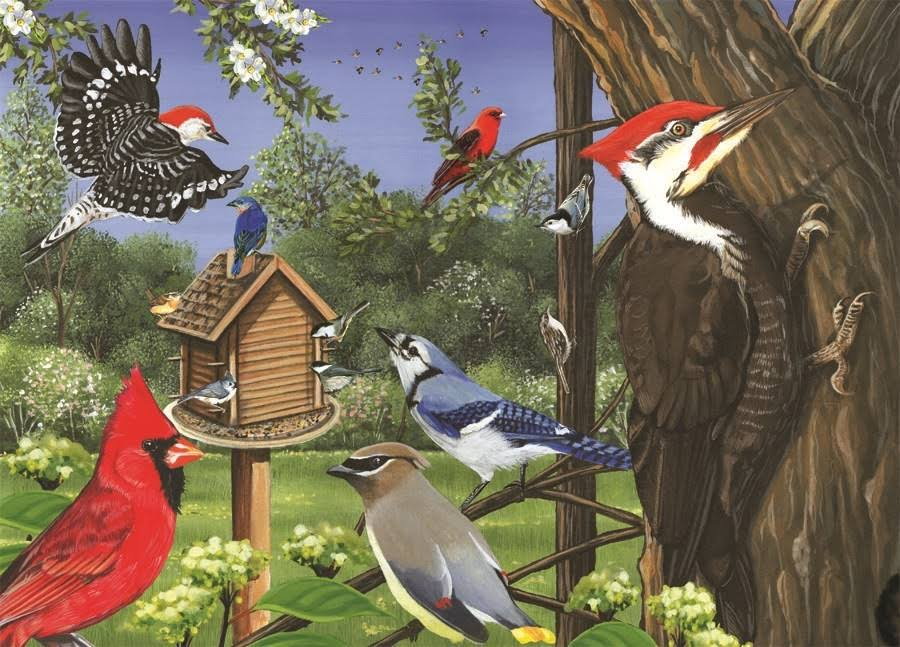 Outset Media Games Around the Birdfeeder Tray Puzzle - 35pcs