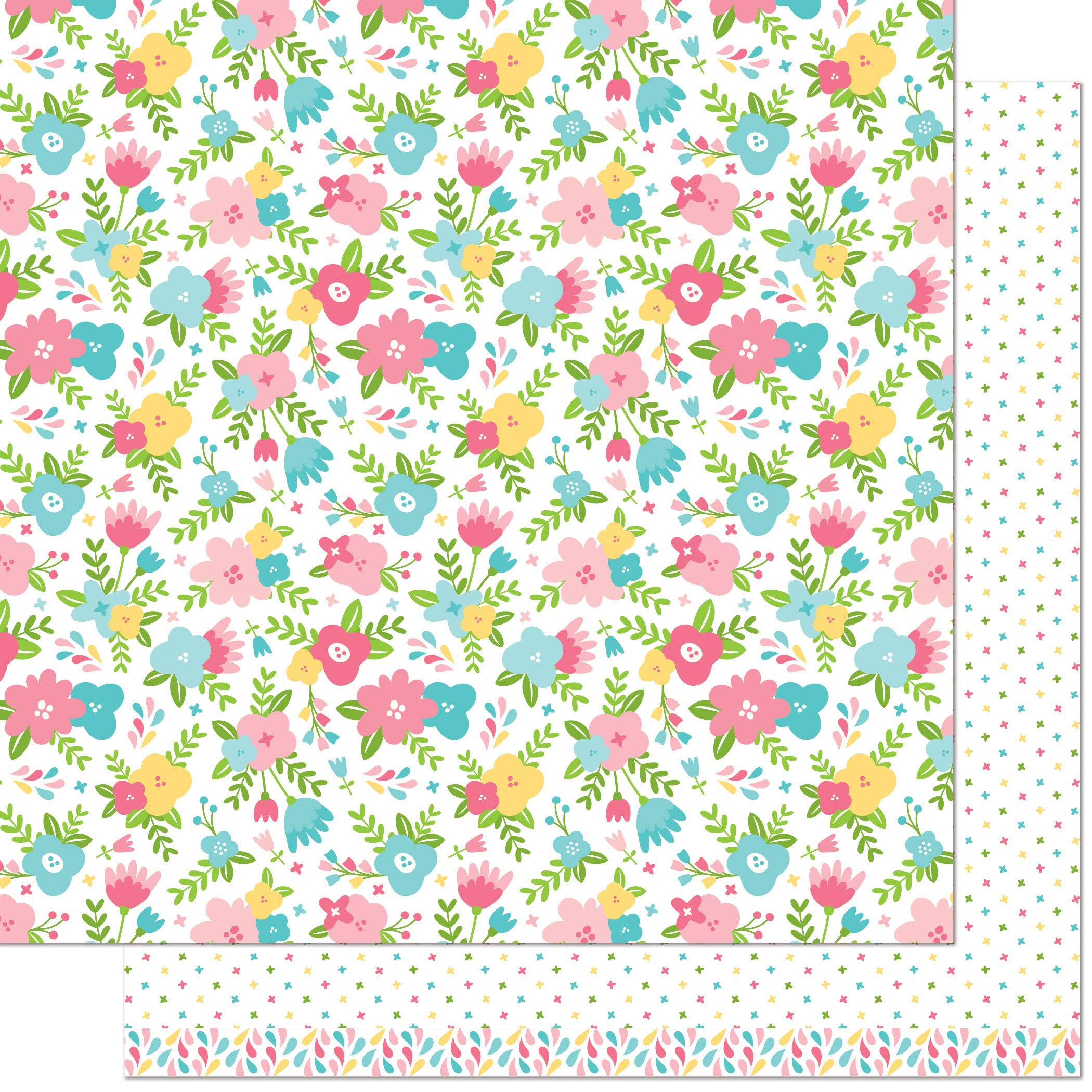 "Lawn Fawn Spring Fling Collection Double Sided Paper - Rebecca, 12"" x 12"""