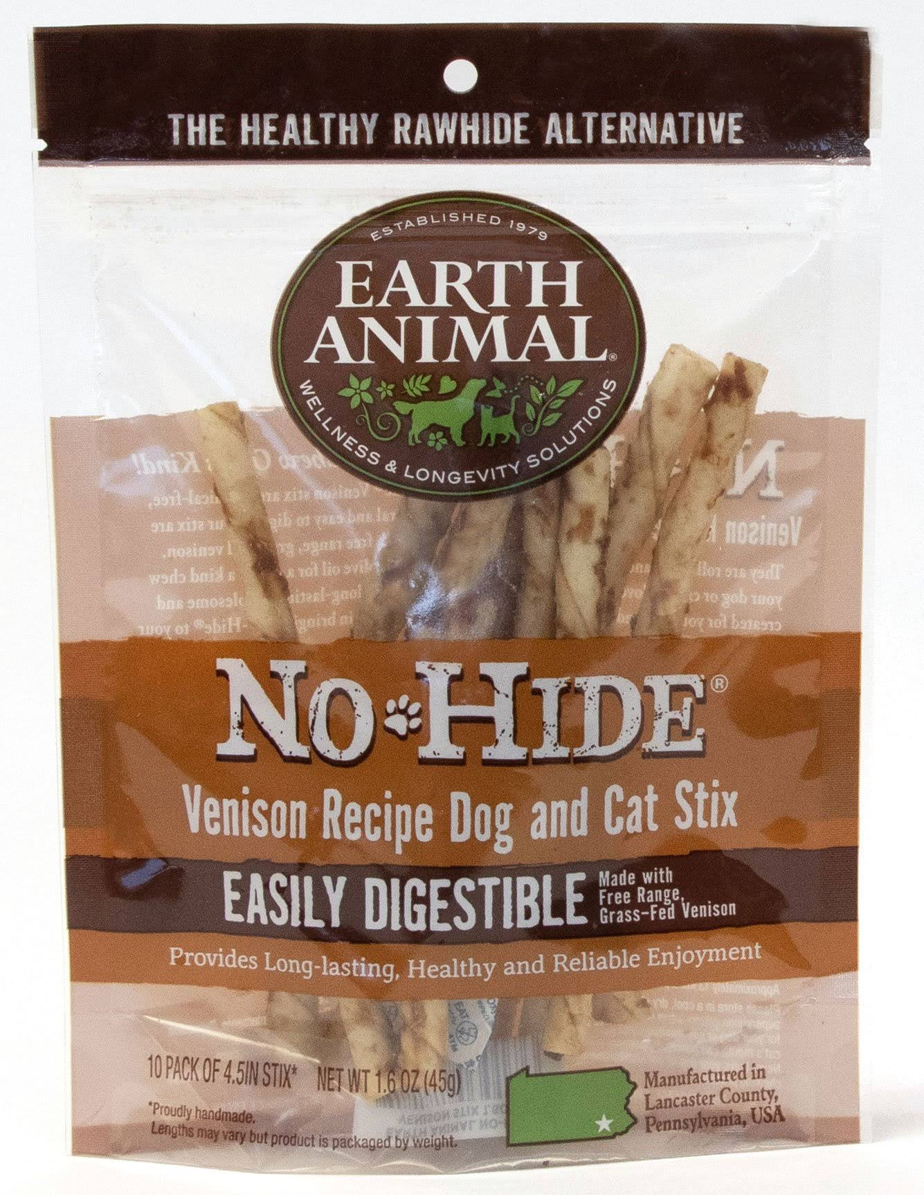 Earth Animal No Hide Dog Chew Sticks, Venison - 10 pack