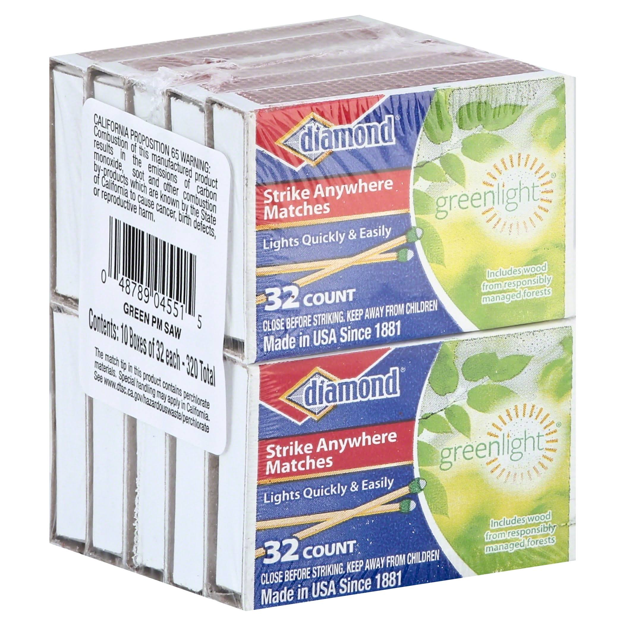 Diamond Strike Anywhere Matches - 32 Count, 10 Pack