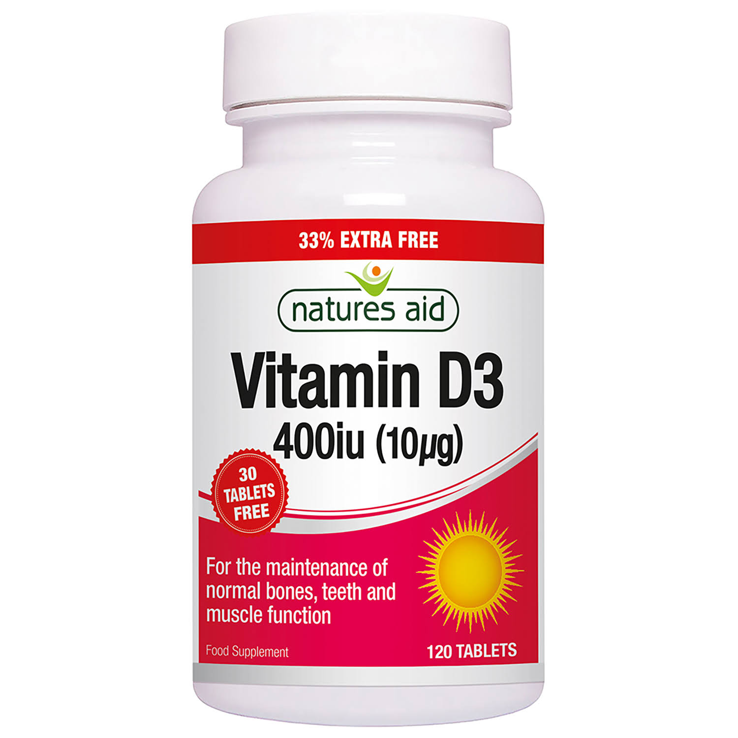 Nature's Aid Vitamin D3 400iu (10ug) Tablets 120