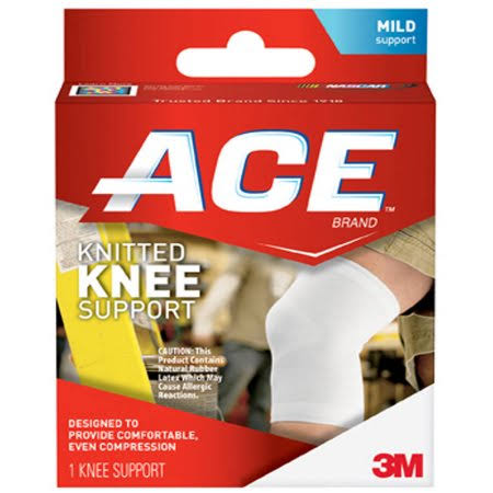 Ace Brand Knitted Knee Support - Small and Medium, White and Grey