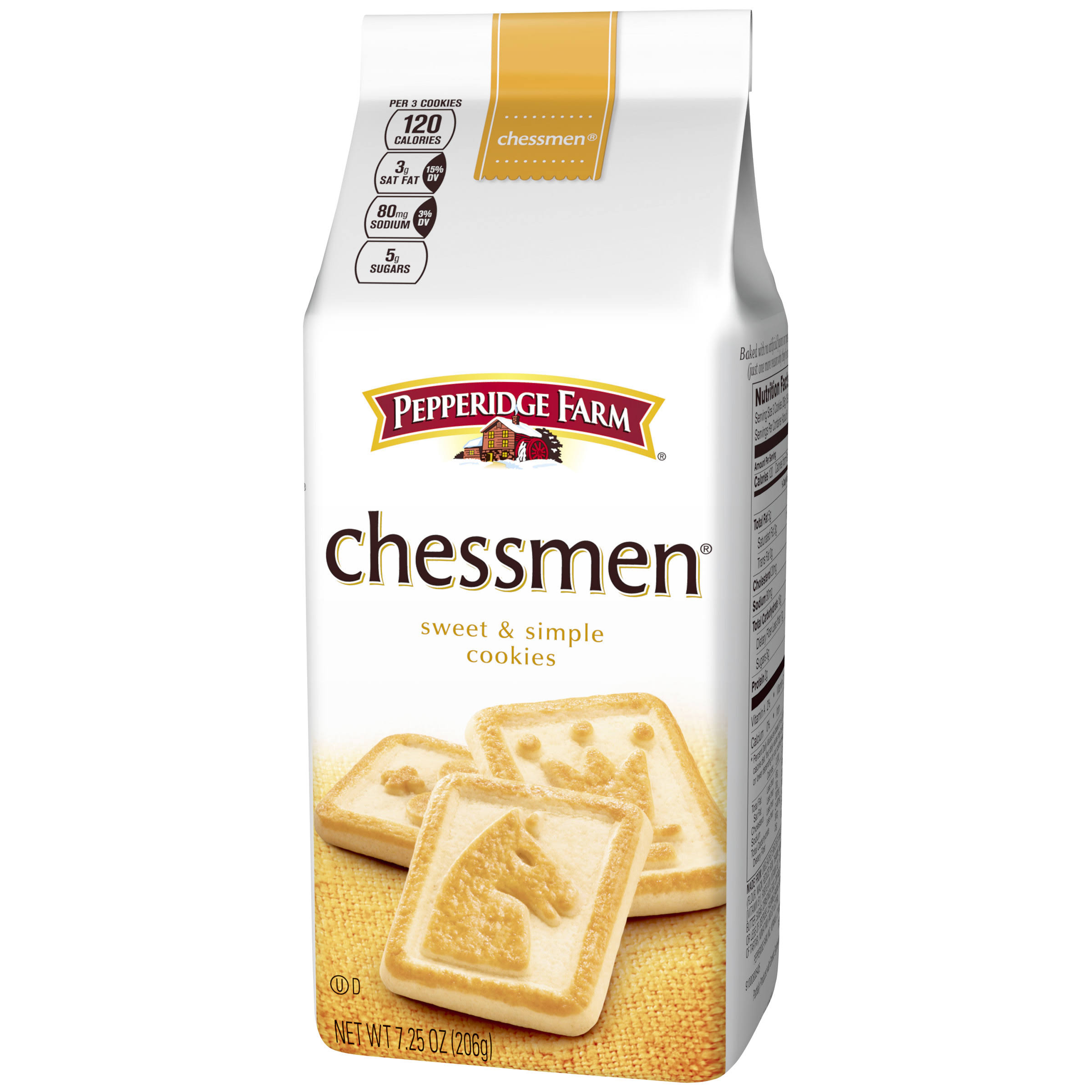 Pepperidge Farm Sweet & Simple Cookies, Chessmen - 7.25 oz bag
