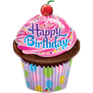 Qualatex Happy Birthday Cupcake Balloon