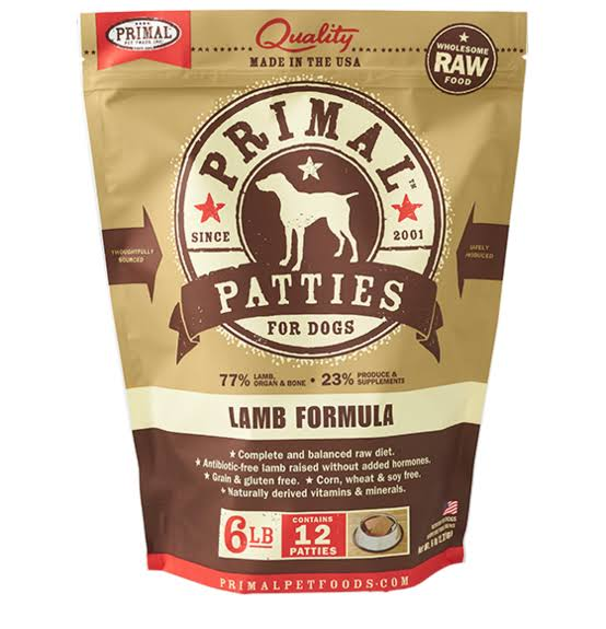 Primal Dog Raw Frozen Lamb Patties 6 lb