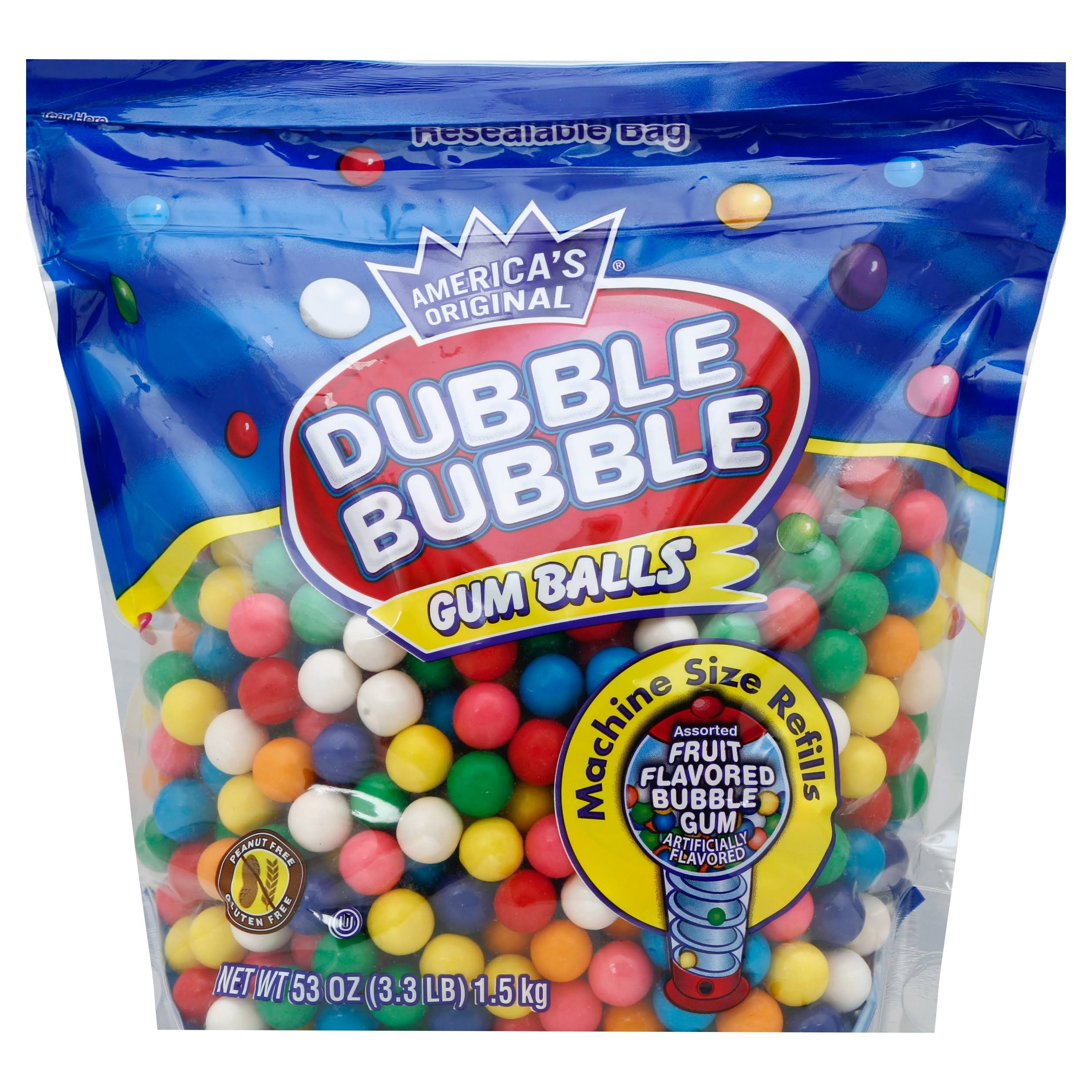 Dubble Bubble Gum Balls Resealable Bag - Assorted Flavors, 53oz