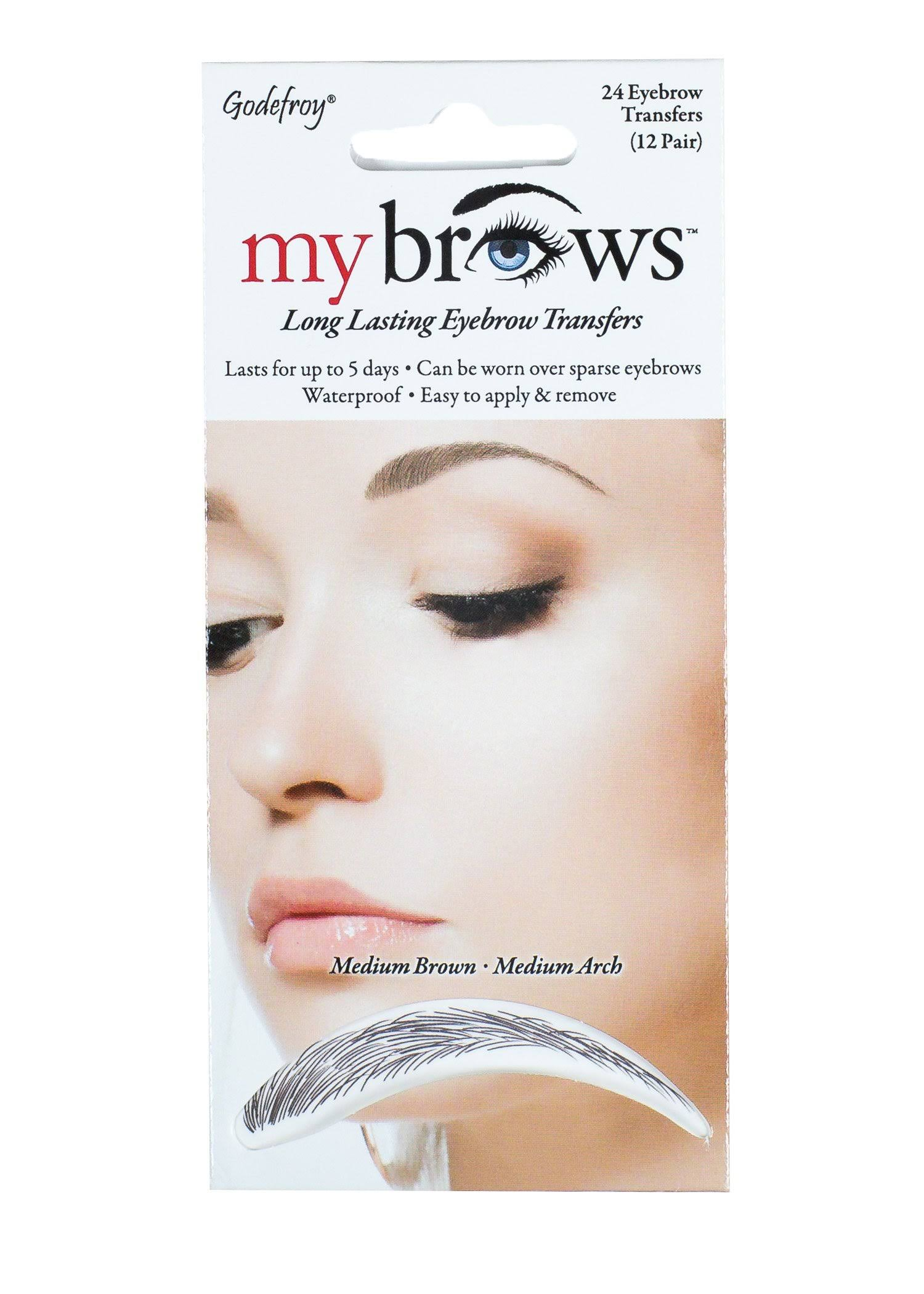 Godefroy My Brows Transfers Long Lasting Medium Arch Medium Brown