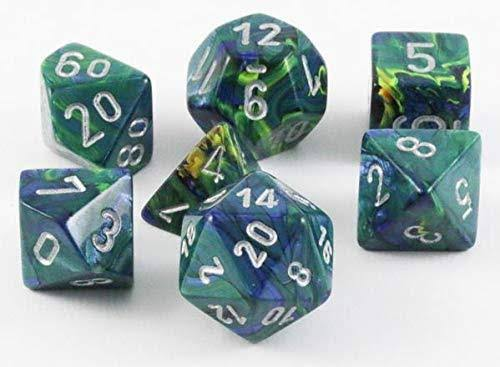 Chessex 7 Set Dice Festive Green Silver 27445