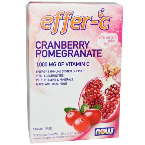 Now Foods Effer-C Cranberry Pomegranate Dietary Supplement - 30 Packets, 165g