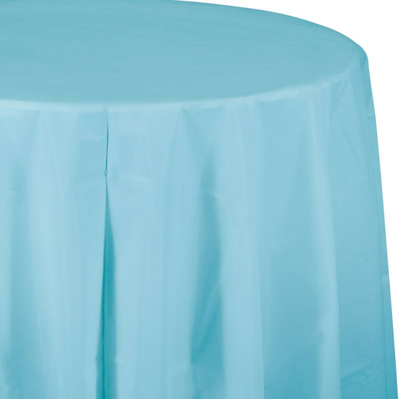 Creative Converting Round Plastic Tablecover - Pastel Blue, 82""